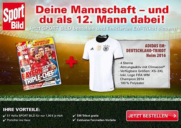 fussball em 2016 jetzt g nstiges sport bild abo sichern und gratis adidas deutschland trikot. Black Bedroom Furniture Sets. Home Design Ideas